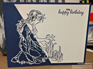 Two-Tone Blue Lady Birthday Card